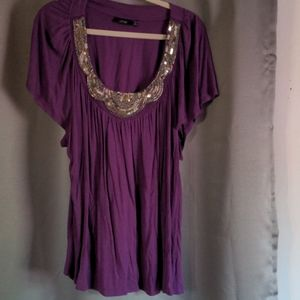 Purple top with silver embellishments